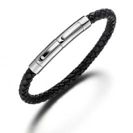 Lunavit Damen- und Herren-Flechtarmband aus geschmeidigem Rindsleder, allergenfreie Edelstahlschließe mit 2000 Gauß starken Neodym Magneten