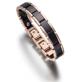 Magnetarmband Lunavit Keramik/Titan Olymp Jade Rose/Schwarz