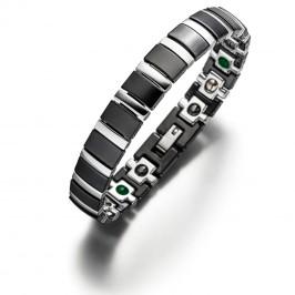 Titan Jade Silber/Schwarz neues Magnetarmband im klaren Design aus der Lunavit Keramik-Kollektion