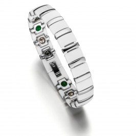 Lunavit Titan Jade Keramik/Magnetarmband Silber/Weiß