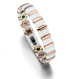 Das elegante Lunavit Titan Jade Keramik/Magnetarmband Rose/Weiß in Bicolor Optik ist das Highlight der neuen Lunavit Keramikarmband Kollektion