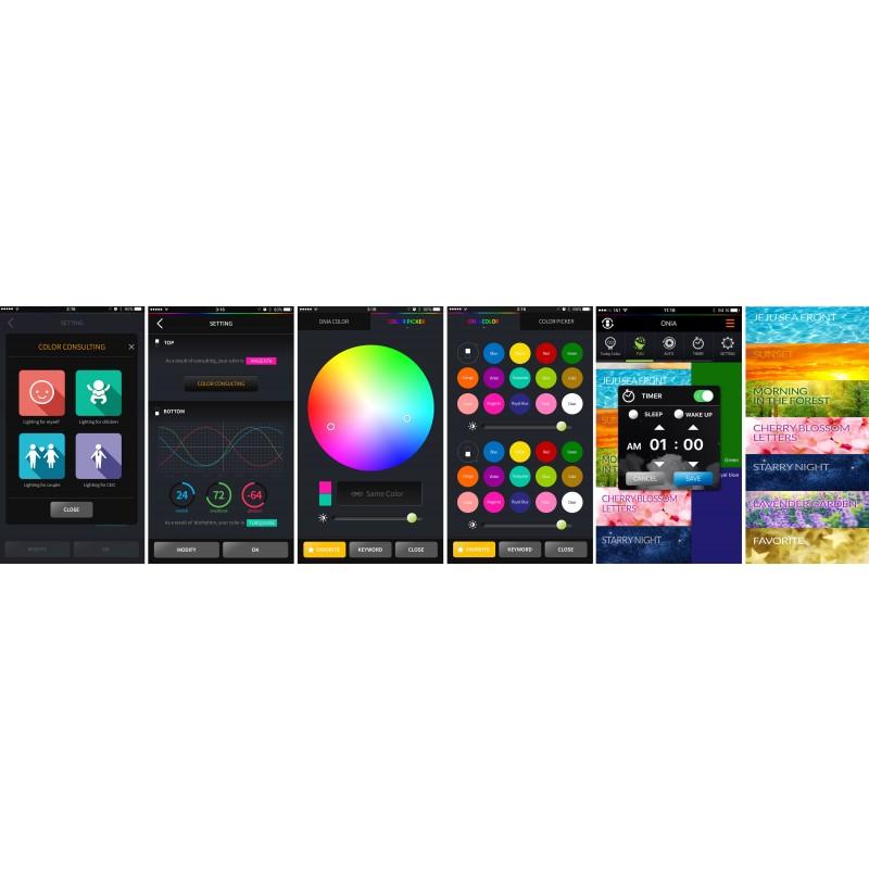 Onia kann mit dem Smartphone über die eigens entwickelte Smartphone-App (IOS 8.0 / Android 4.4) gesteuert werden.