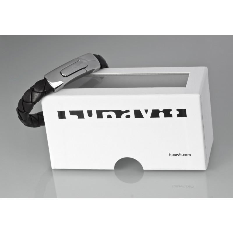 Nexus Leather Magnet-Germanium-Lederarmband mit Verpackung